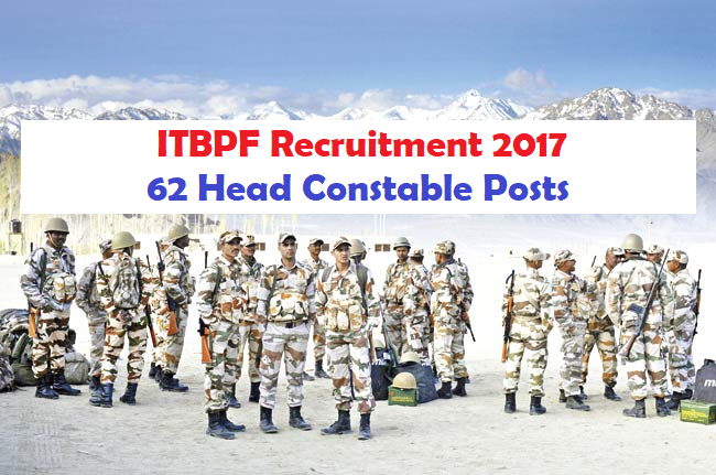 ITBPF Recruitment 2017 62 Head Constables Posts