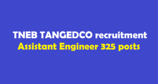 TNEB TANGEDCO recruitment 2018 Assistant Engineer 325 posts